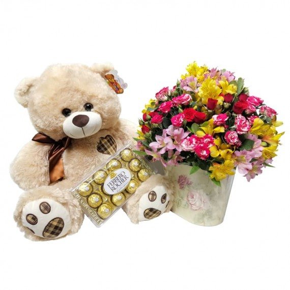 Arrangement of Astromelia and Mini Roses in Cachepot, Teddy Bear and Ferrero Rocher Chocolate
