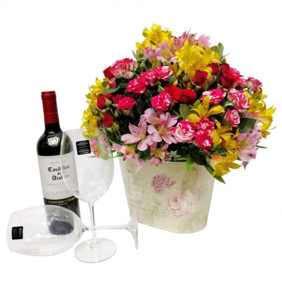Arrangement of Astromelia and Mini Roses in Cachepot, Casillero del Diablo Wine and Glassess