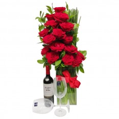 Elegance Arrangement with Colombian Roses, Wine and Glasses