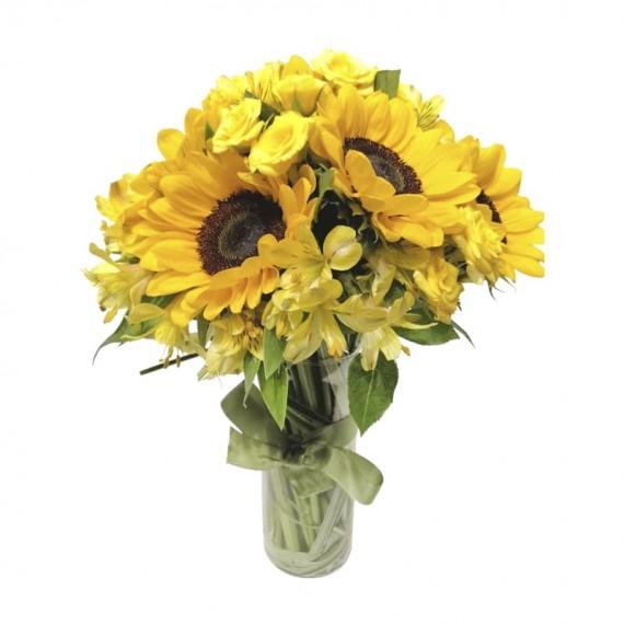 Arranjo de Girassol e Mini Rosas amarelas