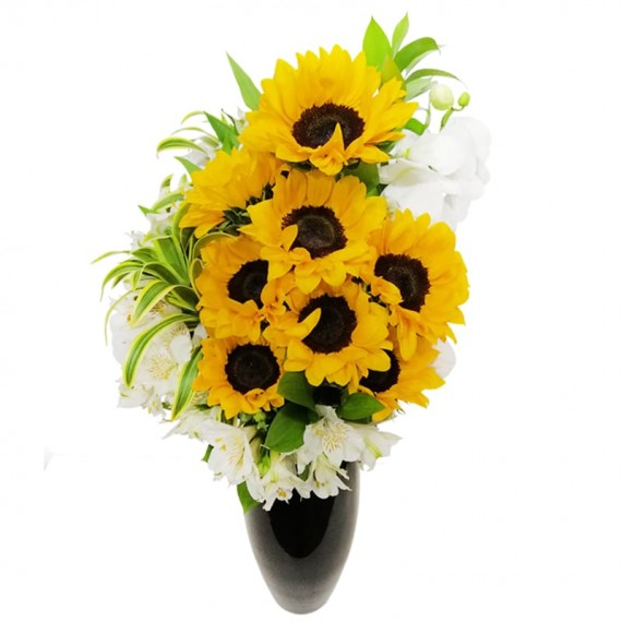 Large Arrangement of Sunflower Orchids and Astromelia