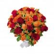 Arranjo Grande de Rosas Nacionais e Mini Rosas em Vaso de Vidro