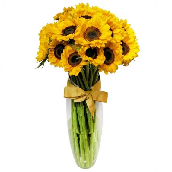 Large Sunflower Arrangement in Glass Vase