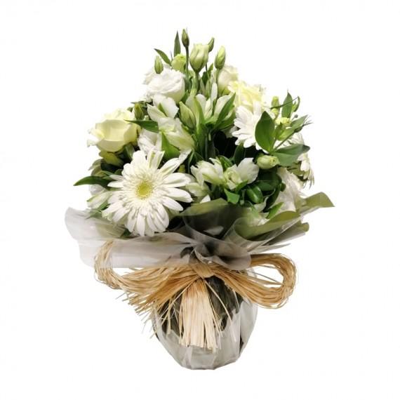 Arranjo de Lisiantos, Rosas Brancas, Gérberas e Astromélias