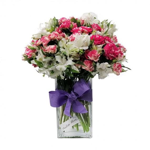 Arranjo Grande de Mini Rosas e Astromélias em Vaso de Vidro