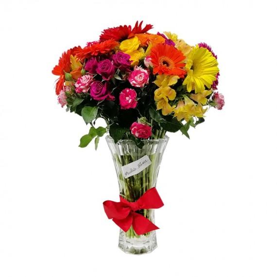 Arranjo Grande de Mini Rosas, Gérberas e Astromélias em Vaso de Vidro