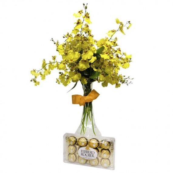 Arrangement with Golden Rain Orchids and Ferrero Rocher Chocolate