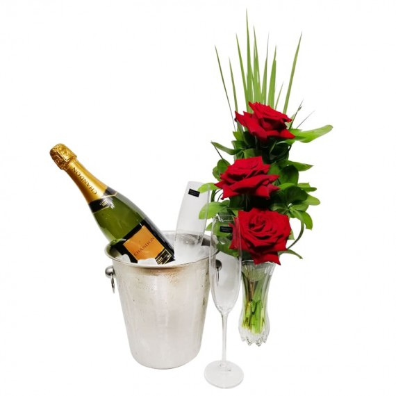 Arrangement with 3 Colombian Roses, Stainless Steel Bucket, Chandon Champagne and 02 Glasses