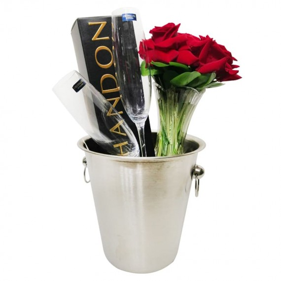 Arrangement with Colombian Roses, Champagne, Glasses and Stainless Steel Bucket