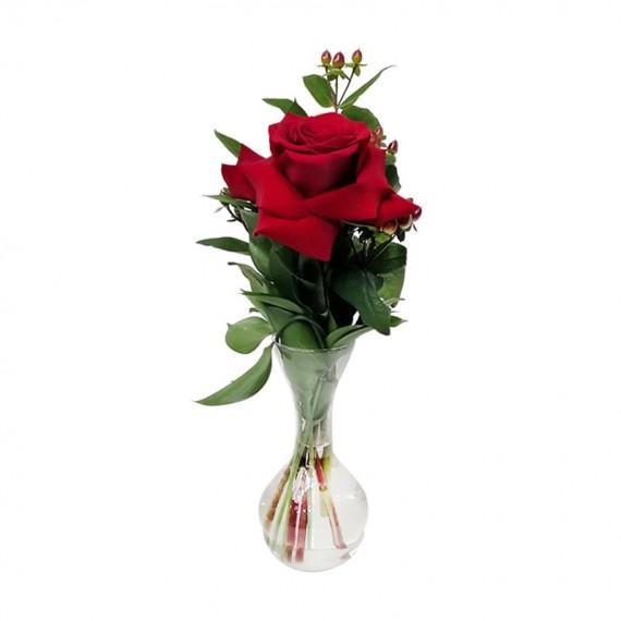 Arranjo com 1 verdadeira Rosa Colombiana com vaso de vidro