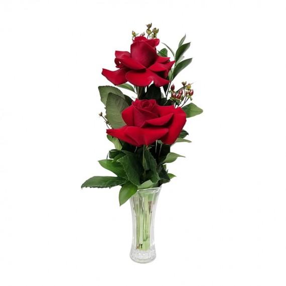 Arranjo com 2 verdadeiras Rosas Colombianas com vaso de vidro