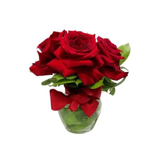 Arranjo com 3 Rosas Colombianas L'Amour