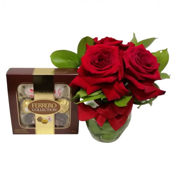 Arrangement with 3 Colombian L'Amour Roses with Chocolate Ferrero Collection with 07 units