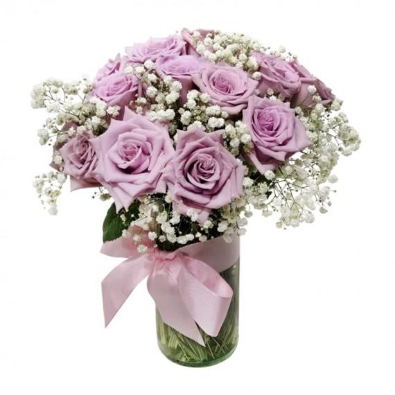 Arranjo com 20 Rosas Nacionais Lilás