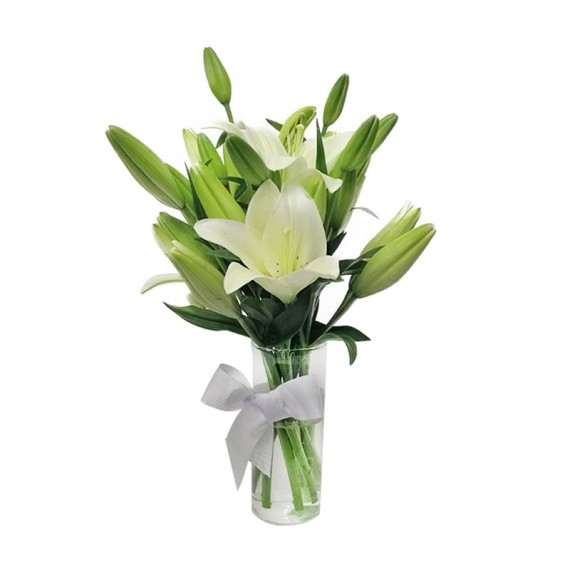Arranjo de Lírios Brancos (sem perfume) em vaso de vidro