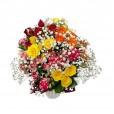 Arranjo de Mini Rosas Coloridas e gipsofilas em vaso de cerâmica