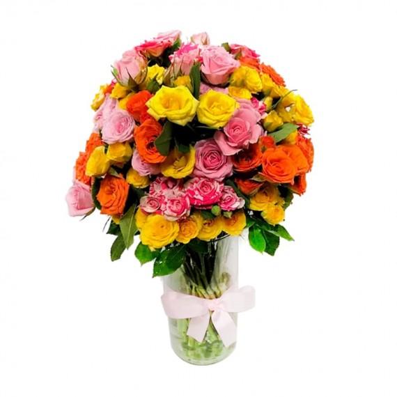 Colors Mini Roses Arrangement