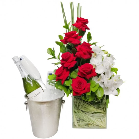 Arrangement with Colombian Roses, White Orchids, Salton Champagne and Glasses