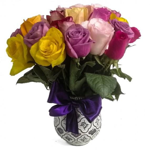 Small Rainbow Roses Arrangement
