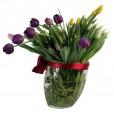 Arrangement of Tulips in a Glass Vase