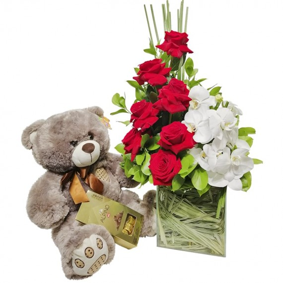 Arrangement with Colombian Roses and Orchids, Teddy Bear and Alpino Chocolate