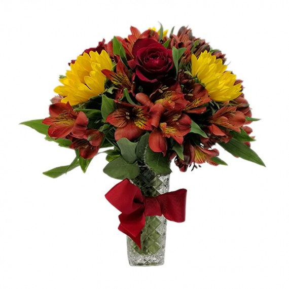 Arranjo de Rosas Vermelhas, Girassóis e Astromélias