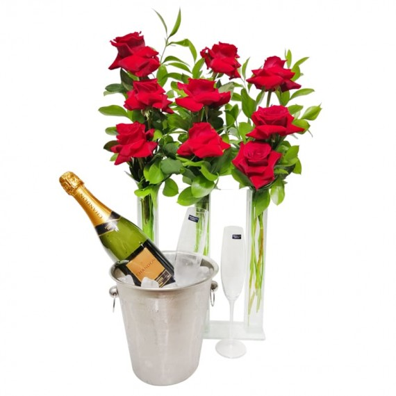 Triple Arrangement of Colombian Roses, Chandon Champagne, Stainless Steel Bucket and Glasses