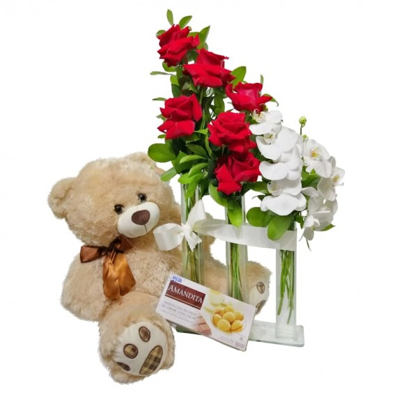 Triple Arrangement with Colombian Roses and Orchids, Teddy Bear and Amandita Chocolate