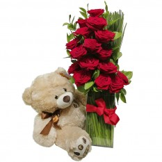 Arrangement with Colombian Roses and Teddy Bear