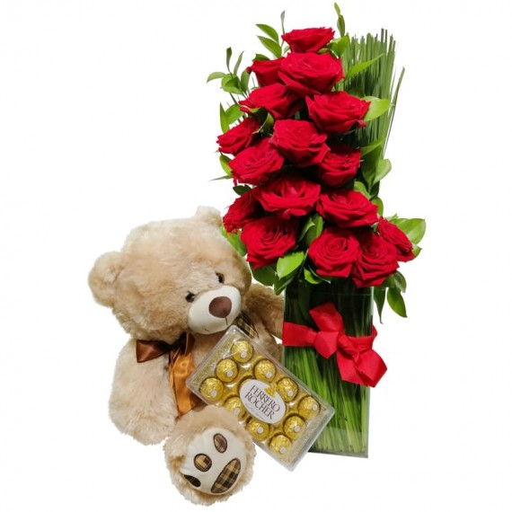 Arrangement with Colombian Roses, Teddy Bear and Ferrero Rocher