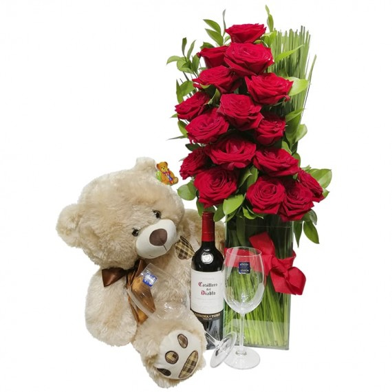 Arrangement with Colombian Roses, Teddy Bear, Wine and Glasses