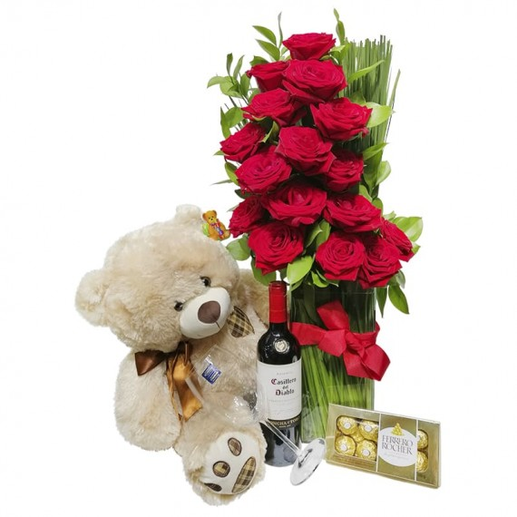 Arrangement with Colombian Roses, Teddy Bear, Wine, Glass and Ferrero Rocher