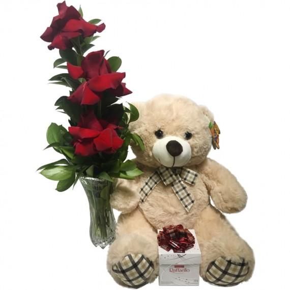 "Arrangement with Unique Colombian Roses, Teddy Bear ""G"" and Ferrero Rocher Raffaello"