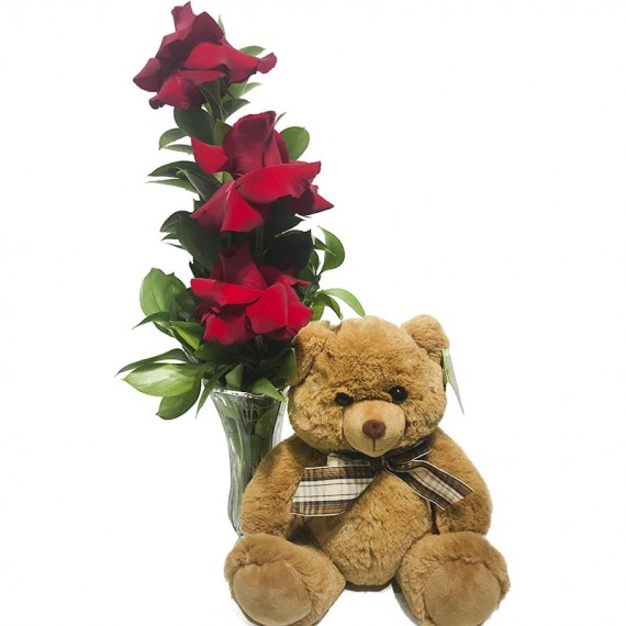 """Arrangement with Unique Colombian Roses and Brown Teddy Bear """"G"""""""