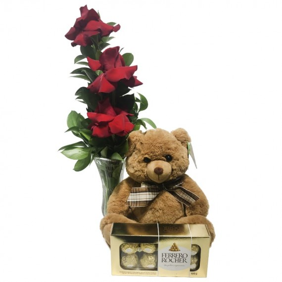"""Arrangement with Unique Colombian Roses and Brown Teddy Bear """"G"""" Ferrero Rocher Traditional"""
