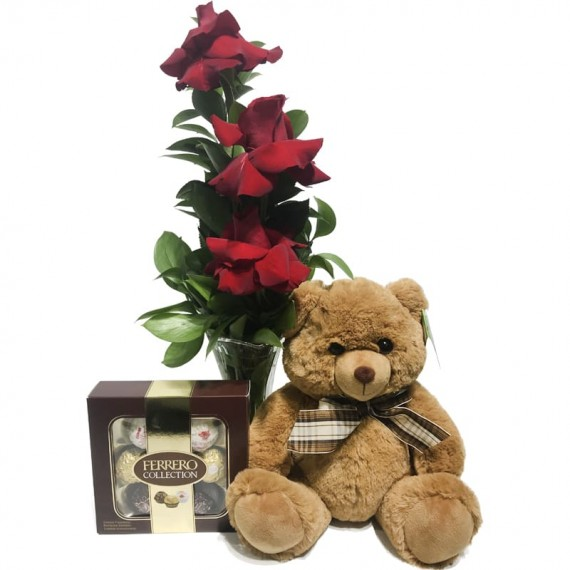 """Arrangement with Unique Colombian Roses and Brown Teddy Bear """"G"""" Ferrero Rocher Collection"""