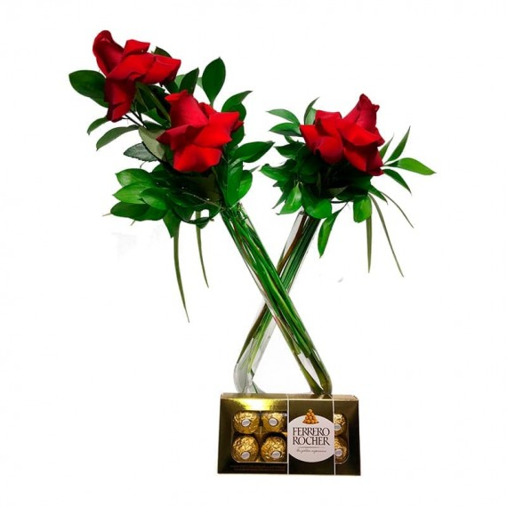 """Arrangement in """"X,"""" with Colombian Roses and Traditional Ferrero Rocher"""