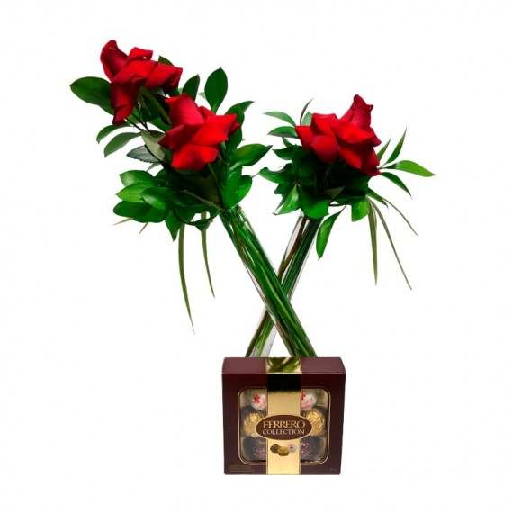 """Arrangement in """"X,"""" with Colombian Roses and Ferrero Collection"""