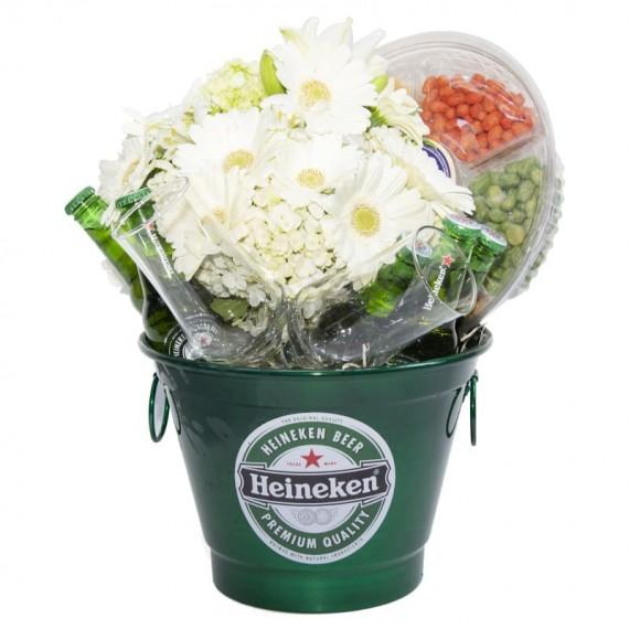 Heineken Snacks Bucket with Gerbera and Hydrangea Arrangement