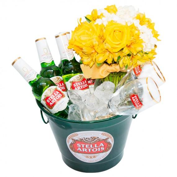 Bucket Stella Artois with Arrangement of Roses and Hydrangeas