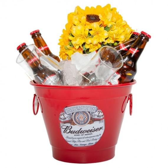 Budweiser Bucket with Astromelia and Sunflower Arrangement