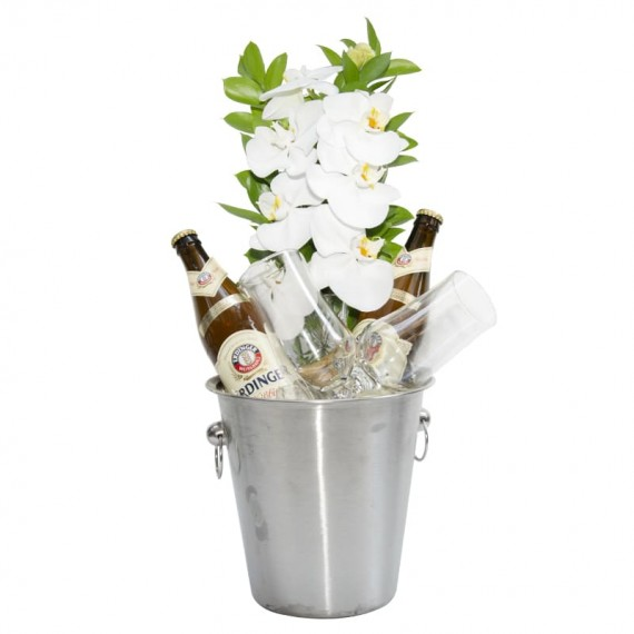 Stainless steel bucket with 2 Erdinger beers, 2 glasses and white orchid arrangement