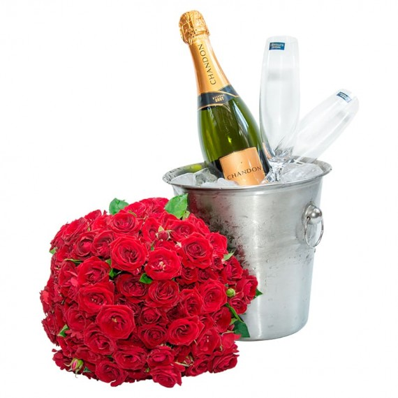 Stainless Steel Bucket with Chandon Champagne, 2 Glasses and Mini Roses Bouquet