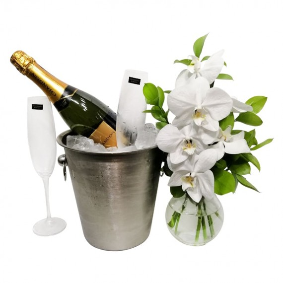 Stainless steel bucket with Chandon champagne, glasses and white orchids arrangement