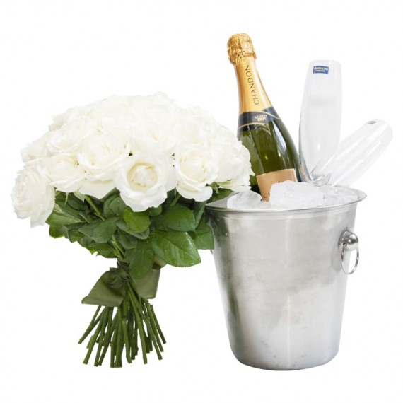 Stainless steel bucket with Chandon Champagne, 2 glasses and bouquet of white roses