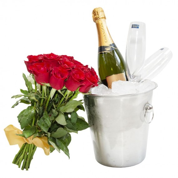 Stainless Bucket with Chandon Champagne, 2 Glasses and M Bouquet of Rosesf roses