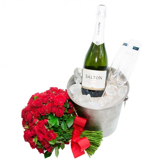 Stainless Bucket with Salton Champagne, 2 Glasses and Mini Roses Bouquet