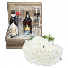 Perfect Couple Chest - Bouquet of White Roses, Beers and Glasses