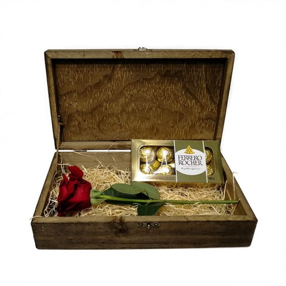 Baú Surpresa Tradicional 6  - Rosa Colombiana e Ferrero Rocher de 8 unidades