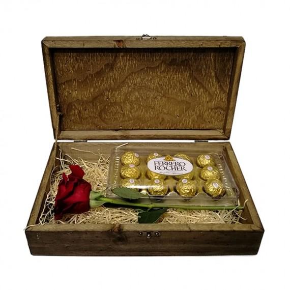 Baú Surpresa Tradicional  7- Rosa Colombiana e Ferrero Rocher de 12 unidades